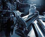 Close-Up of Sheet Metal Worker    Stock Photo - Premium Rights-Managed, Artist: Philip Rostron, Code: 700-00068342
