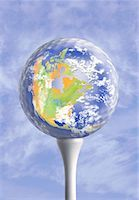Globe on Golf Tee, North America    Stock Photo - Premium Royalty-Freenull, Code: 600-00068696