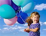 Portrait of Girl Holding Balloons    Stock Photo - Premium Rights-Managed, Artist: Peter Christopher, Code: 700-00068751
