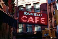 restaurant new york manhattan - Cafe Sign and Buildings, Soho New York, New York, USA    Stock Photo - Premium Rights-Managednull, Code: 700-00069189