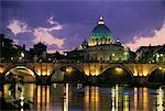 St. Peter's Basilica and Tevere River at Dusk Vatican City, Rome, Italy    Stock Photo - Premium Rights-Managed, Artist: Gail Mooney, Code: 700-00071066