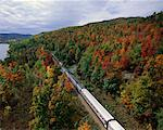 Train through Trees in Autumn Adirondack Mountains New York, USA    Stock Photo - Premium Rights-Managed, Artist: Gail Mooney, Code: 700-00072191