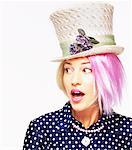 Portrait of Woman with Pink Hair Wearing Hat    Stock Photo - Premium Rights-Managed, Artist: Elizabeth Knox, Code: 700-00073297