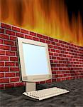 Computer with Flat Screen Monitor Near Brick Wall with Flames    Stock Photo - Premium Rights-Managed, Artist: Guy Grenier, Code: 700-00073356