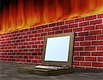 Laptop Computer near Brick Wall With Flames    Stock Photo - Premium Rights-Managed, Artist: Guy Grenier, Code: 700-00073357