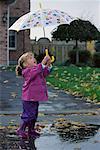 Girl Holding Umbrella in Rain Ajax, Ontario, Canada