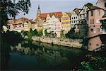 Buildings along Neckar River Tubingen, Germany    Stock Photo - Premium Rights-Managed, Artist: Larry Fisher, Code: 700-00073906