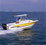 Couple on Fishing Boat Bay Area, Florida, USA