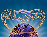 Globe with Connecting Lines and Handshake    Stock Photo - Premium Rights-Managednull, Code: 700-00075496