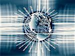Wire Globe and Binary Code North and South America    Stock Photo - Premium Rights-Managed, Artist: Wei Yan, Code: 700-00075683
