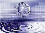 Wire Globe and Rippling Water North and South America