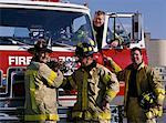 Group of Male Firefighters by Fire Truck    Stock Photo - Premium Rights-Managed, Artist: Philip Rostron, Code: 700-00076166