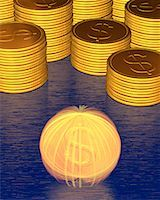Stacks of Coins and Spinning Coin With Dollar Signs    Stock Photo - Premium Royalty-Freenull, Code: 600-00077456