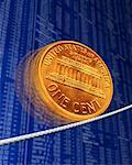 American Penny on Wire with Financial Page    Stock Photo - Premium Rights-Managed, Artist: Guy Grenier, Code: 700-00078170