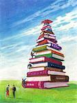 Illustration of Students Climbing Stack of Books to Reach Mortarboard