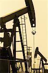 Silhouette of Oil Pump Jacks California, USA