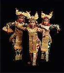 Portrait of Legong Dancers in Costume Bali, Indonesia