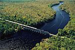 Aerial View of Passenger Train Crossing Yellow River Near Pensacola, Florida, USA