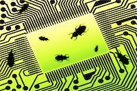 Close-Up of Circuit Board with Bugs    Stock Photo - Premium Rights-Managednull, Code: 700-00083044