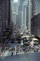 Busy City Street and Trams Hong Kong
