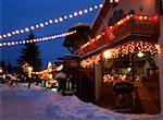 Town Square in Winter with Christmas Lights at Night Kimberley, British Columbia Canada    Stock Photo - Premium Rights-Managed, Artist: Ron Stroud, Code: 700-00084126