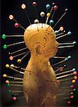 Acupuncture Model with Pins Stuck in Acupuncture Points