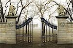 Gate with Winged Lion Statues    Stock Photo - Premium Rights-Managed, Artist: Nora Good, Code: 700-00085036