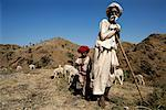 Mature Male Sheep Herder with Child Outdoors Rajasthan, India    Stock Photo - Premium Rights-Managed, Artist: R. Ian Lloyd, Code: 700-00085942