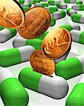 American Pennies Falling into Pills    Stock Photo - Premium Rights-Managed, Artist: Guy Grenier, Code: 700-00086507