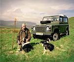 Scottish Herdsman and Dogs Isle of Skye, Scotland