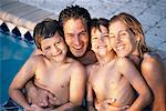 Family in Swimming Pool    Stock Photo - Premium Rights-Managed, Artist: Kevin Dodge, Code: 700-00087390
