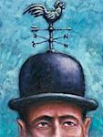 Man with Weathervane on Hat    Stock Photo - Premium Rights-Managed, Artist: James Wardell, Code: 700-00089059
