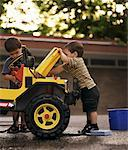 Children Fixing Car    Stock Photo - Premium Rights-Managed, Artist: Dan Lim, Code: 700-00090238