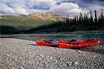Canoeing Mackenzie Mountains, Keele River Northwest Territories, Canada
