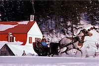 People on a Sleigh Ride Saint Urbain, Charlevoix Quebec, Canada Stock Photo - Premium Rights-Managednull, Code: 700-00091822