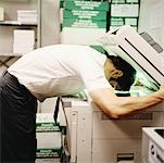 Man Photocopying His Face    Stock Photo - Premium Rights-Managed, Artist: Tom Feiler, Code: 700-00093328