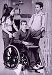 Disabled Teenage Boy at School Locker With Friends    Stock Photo - Premium Rights-Managed, Artist: Elizabeth Knox, Code: 700-00095006