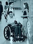 Disabled Teenage Boy at School Locker With Friends    Stock Photo - Premium Rights-Managed, Artist: Elizabeth Knox, Code: 700-00095007
