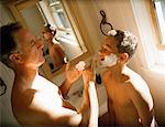 Father Teaching Son to Shave