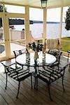 Sunroom Overlooking Lake    Stock Photo - Premium Rights-Managed, Artist: Jean-Yves Bruel, Code: 700-00095858