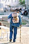 Old Man With Shopping Chora, Mykonos, Greece    Stock Photo - Premium Rights-Managed, Artist: R. Ian Lloyd, Code: 700-00097849