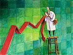 Illustration of Doctor Examining Falling Financial Market    Stock Photo - Premium Rights-Managed, Artist: Wei Yan, Code: 700-00150474