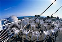 Chairs on Skydeck with View of Cineshpere, Ontario Place Toronto, Ontario, Canada    Stock Photo - Premium Rights-Managednull, Code: 700-00152097
