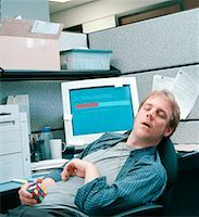 Man Sleeping at Desk    Stock Photo - Premium Rights-Managednull, Code: 700-00153006
