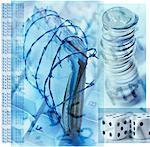 Collage of Coins, Dice, Files and Barbed Wire    Stock Photo - Premium Rights-Managed, Artist: Tom Collicott, Code: 700-00156243