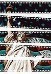 Statue of Liberty and American Flag Through Film Strips New York, New York, U.S.A.