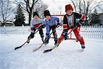 Kids Playing Ice Hockey Outdoors    Stock Photo - Premium Rights-Managed, Artist: Curtis R. Lantinga, Code: 700-00158181