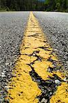 Close-Up of Center Line of Paved Road    Stock Photo - Premium Rights-Managed, Artist: Boden/Ledingham, Code: 700-00158242
