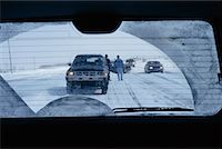 Car Accident in Winter as Seen Through Rear View Window    Stock Photo - Premium Rights-Managednull, Code: 700-00158364