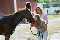 Mother and Daughter with Horse    Stock Photo - Premium Rights-Managednull, Code: 700-00160877